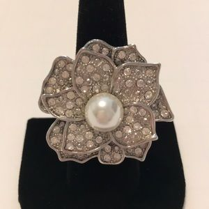 Silver and Crystal Adjustable Flower Ring